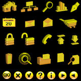 Set of 3d internet icons. Set of yellow 3d internet icons on black, uploaded with Ai 8 Stock Image