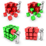 Set of 3d man with shiny blocks Royalty Free Stock Photos