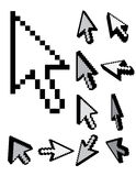 Set of 3d pixel cursors Stock Image