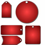 Set 3D price tags. Set 3D red price tags isolated on white Stock Photo