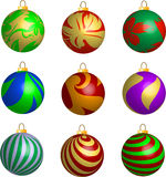 Set of 3D Ribbon and leaves Christmas balls. Decorations illustration Royalty Free Stock Photography