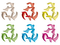 Set of 3d rotation symbol Stock Image