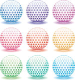 Set of 3d shiny globes. Vector set of 3d shiny globes of different colors Royalty Free Stock Photos
