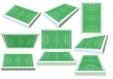 Set of 3D soccer fields from different angles. Stock Photography