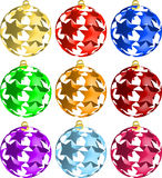 Set of 3D Star Christmas balls decorations Stock Photos