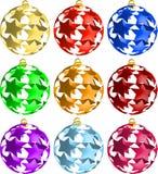 Set of 3D Star Christmas balls decorations. Illustration Stock Photos