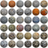 Set of 3D stone balls on white - seamless texture Royalty Free Stock Photo