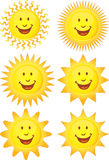 Set of 3D Suns Royalty Free Stock Image