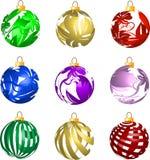 Set of 3D transparent Christmas balls decorations. Illustration Royalty Free Stock Photography