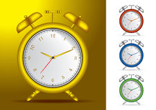 Set of 4 alarm clocks illustrations Royalty Free Stock Photo