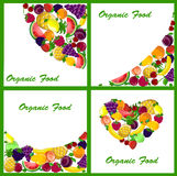 Set of 4 backgrounds with fruits vector. Set of 4 backgrounds with a variety of fruits,vector illustration picture Royalty Free Stock Photography