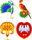 Set of 4 birds Royalty Free Stock Photos