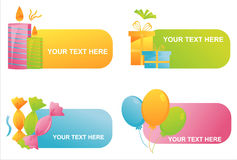 Set of 4 birthday banners Royalty Free Stock Photo