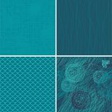 Set of 4 blue seamless backgrounds in vector Stock Photos