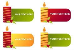 Set of 4  candle banners. Set of 4 christmas candle banners Stock Photos