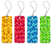 Set of 4 checkered shopping tags. Set of 4 checkered retail shopping product price tags Royalty Free Stock Photography