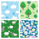 Set of 4 childish seamless patterns Stock Photography