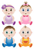 A set of 4 cute Babies stock illustration