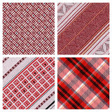 Set of 4 detailed sewn materials Stock Images