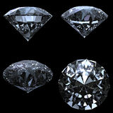 Set of 4 diamonds with clipping path. On black background Royalty Free Stock Image