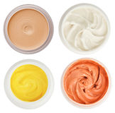 Set of 4 different dermal creams and gels Stock Photos