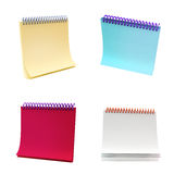 Set of 4 different note books. Note book: set of 4 different colors and foreshortening isolated on white Stock Image