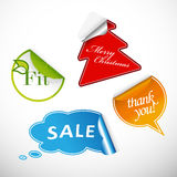 Set of 4 different types of labels. Stock Photo