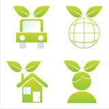 Set of 4 ecological icons Stock Photos