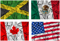 Set of 4 flags Royalty Free Stock Image