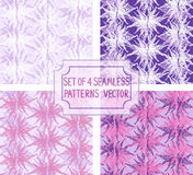 Set of 4 floral seamless vector patterns. Graphical illustration with modernized flowers Stock Photo