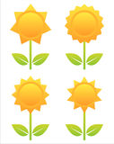 Set of 4 flowers icons Royalty Free Stock Photography