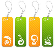 Set of 4 green and orange tags Stock Photo