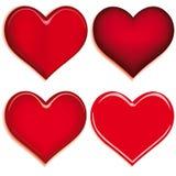 Set of 4 hearts Royalty Free Stock Image
