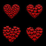 Set of 4 hearts 3d ilustrations Royalty Free Stock Images