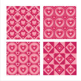 Set of 4  hearts patterns Royalty Free Stock Images