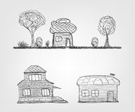Set of 4 house icons. Sketch style houses icons. This is file of EPS10 format Stock Images