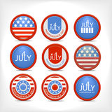 Set 4 july  badge. Stock Photos