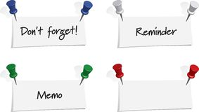 Set of 4 Memos with Push Pins Royalty Free Stock Image