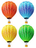 Set of 4 multi-coloured balloons Stock Images