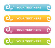 Set of 4 musical banners Stock Image