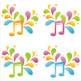 Set of 4 musical notes Stock Image