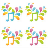 Set of 4 musical notes Stock Photo