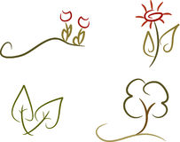 Set of 4 nature icons. Set of 4 simple colored line-art nature icons including flowers, leaves and tree Royalty Free Stock Images