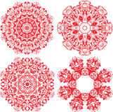 Set of 4 one color round ornaments, Lace floral pa Royalty Free Stock Images