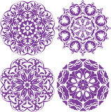 Set of 4 one color round ornaments, Lace floral patterns Stock Image