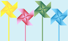 Set of 4 Origami Pinwheels Stock Images