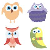 Set of 4 owls. Set of 4 colorful owls Royalty Free Stock Photo
