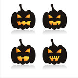Set of 4 pumpkin silhouettes Stock Photography