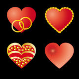 Set of 4 red hearts Royalty Free Stock Photo