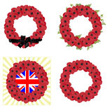Set of 4 remembrance wreaths vector Stock Image